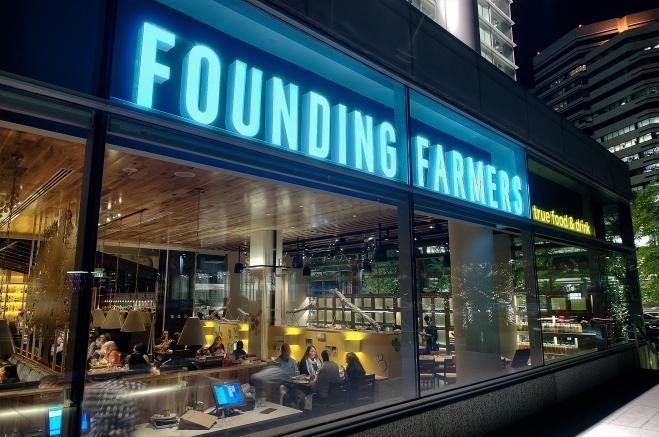 Exterior of Founding Farmers Restaurant in Tysons Corner, VA