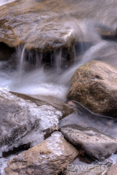 Long Exposure of icy rocks along Difficult Run