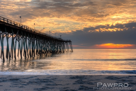 Kure Beach Pier Sunrise by Amy Linn Doherty