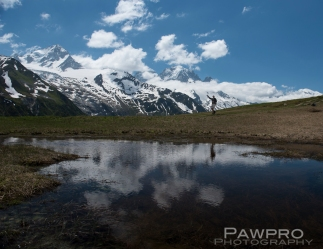 Alpine reflecting pool along TMB, Mont Blanc in the background