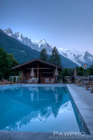 Mont Blanc massif from hotel poolside